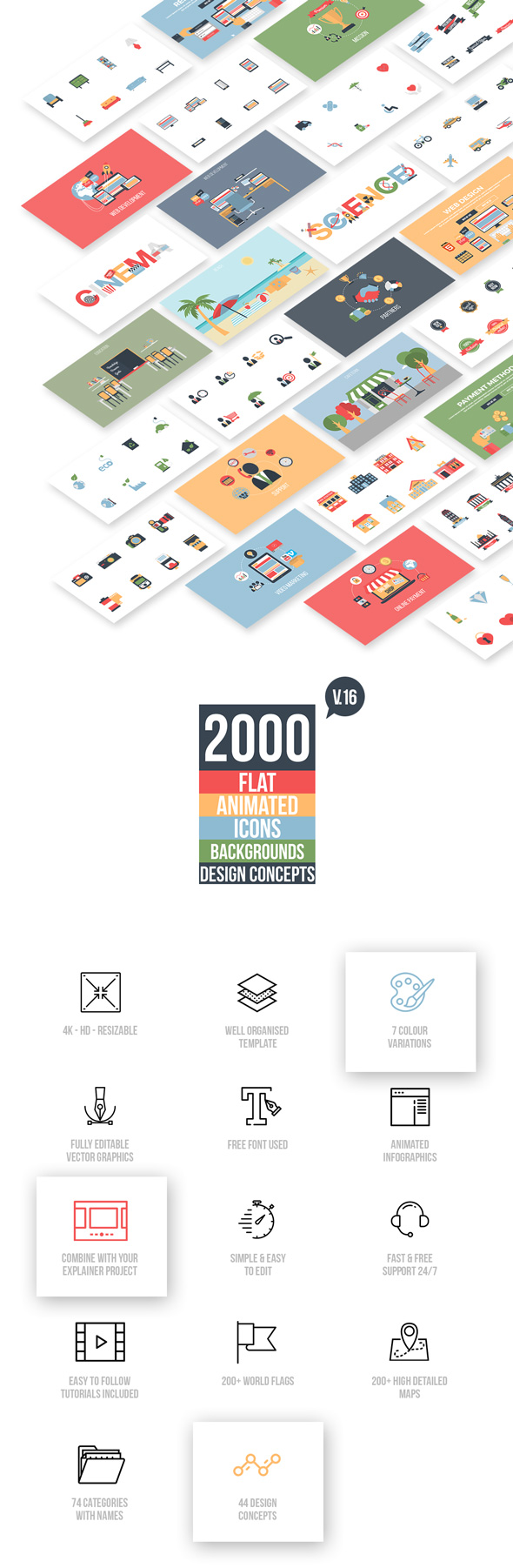 Flat Animated Icons Library - 10